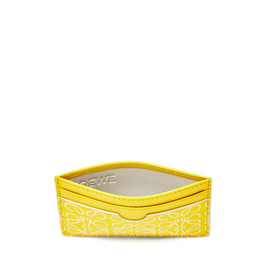 LOEWE Plain Card Holder Yellow/White front