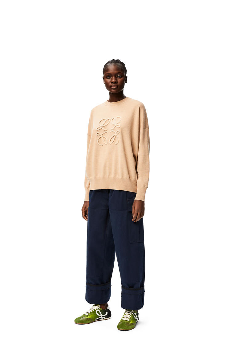 LOEWE High waisted cargo trousers in cotton Navy Blue pdp_rd