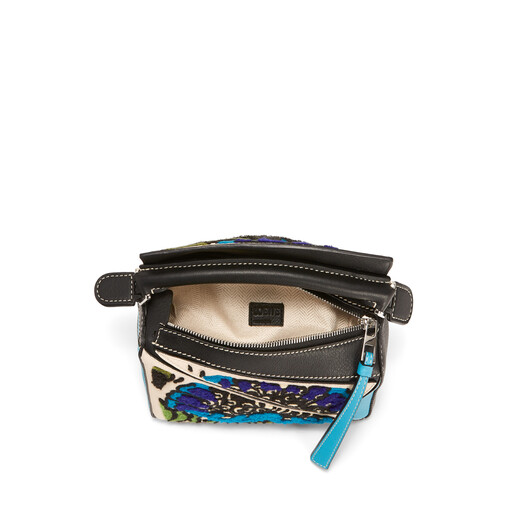 LOEWE Bolso Puzzle Floral Mini Azul Pavo Real front