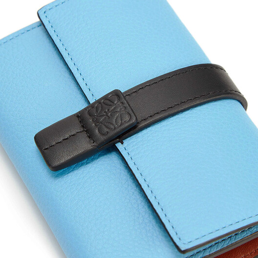 LOEWE Small Vertical Wallet Sky-Blue/Black front