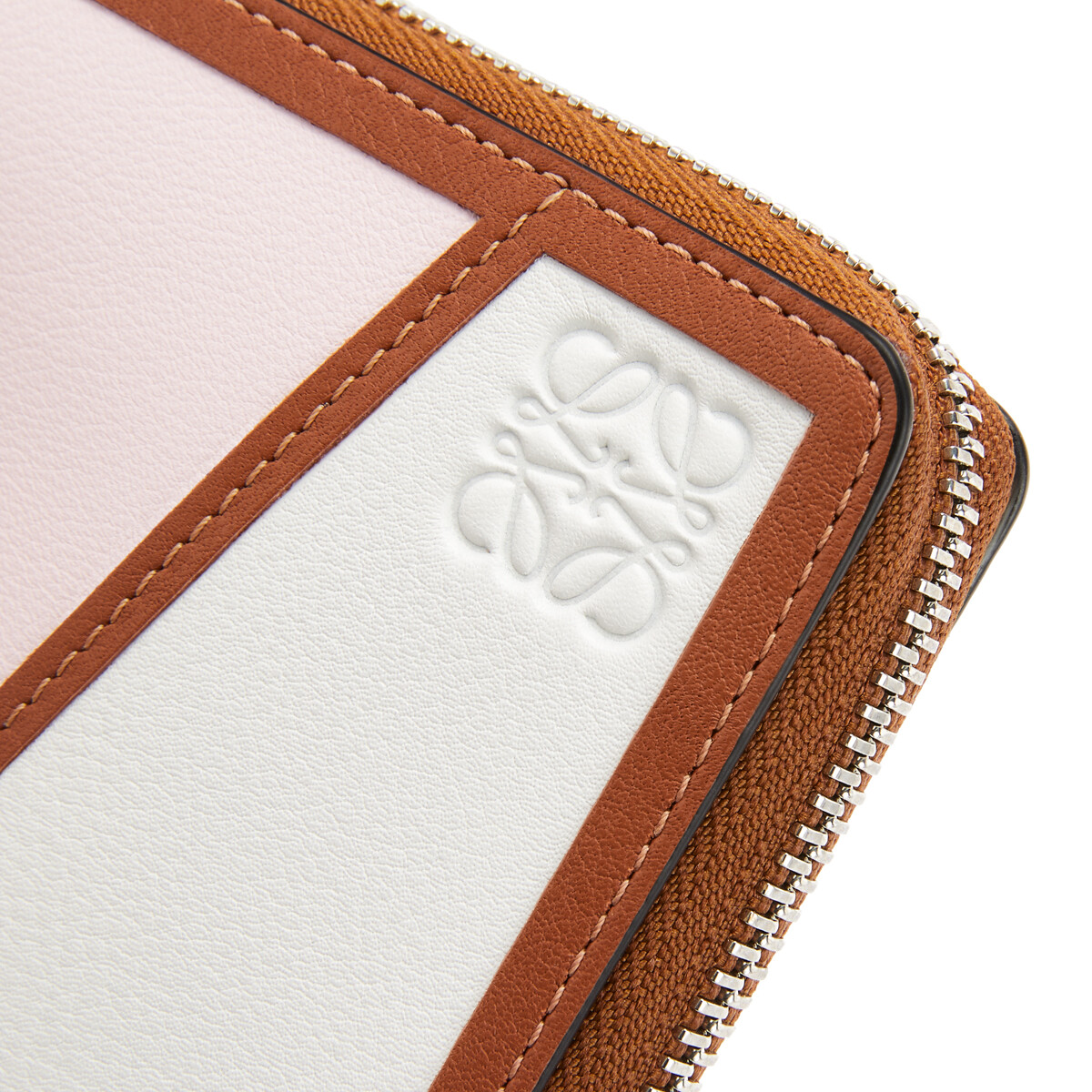 LOEWE Puzzle Square Zip Wallet Icy Pink/Soft White front