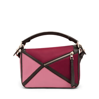 LOEWE Puzzle Graphic Small Bag Raspberry/Wild Rose front