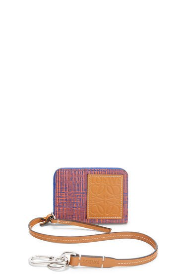 LOEWE 6 cards wallet in textured calfskin Electric Blue/Orange pdp_rd