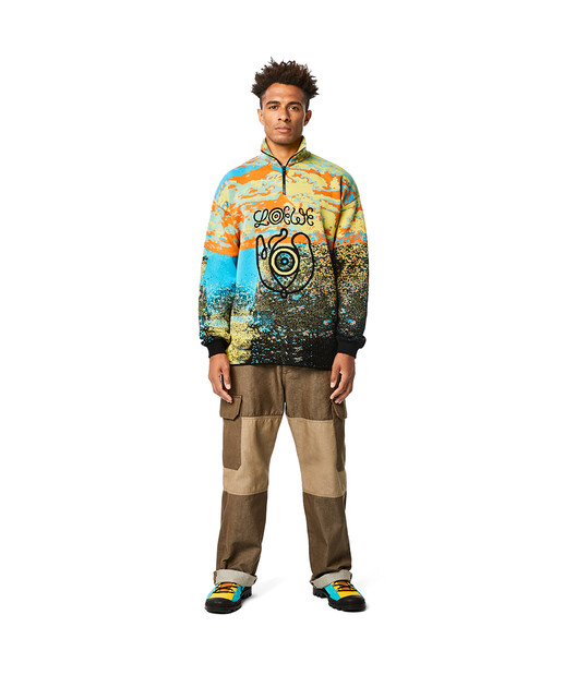 LOEWE Eln High Neck Zip Sweater Blue/Orange front