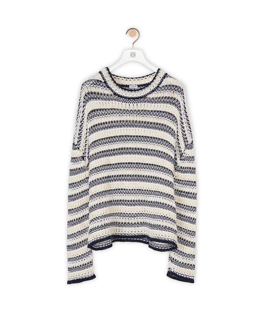 LOEWE Stripe Knit Mesh Sweater Ecru/Navy Blue front