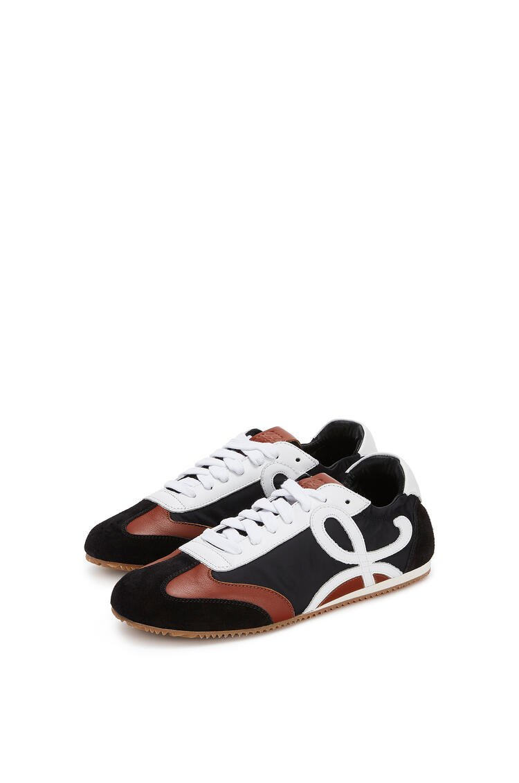 LOEWE Ballet runner in leather and nylon Black/White/Brown pdp_rd