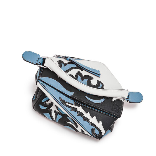 LOEWE Puzzle Cowboy Small Bag black/light blue front