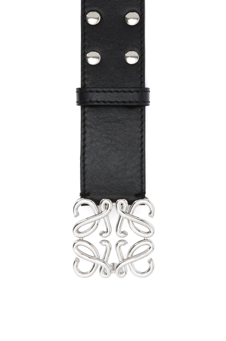 LOEWE Studs Anagram belt in calfskin and metal Black/Palladium pdp_rd