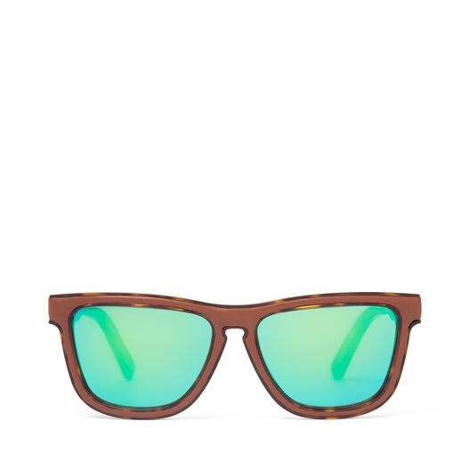 LOEWE Square Padded Sunglasses Brown/Mirror Green front