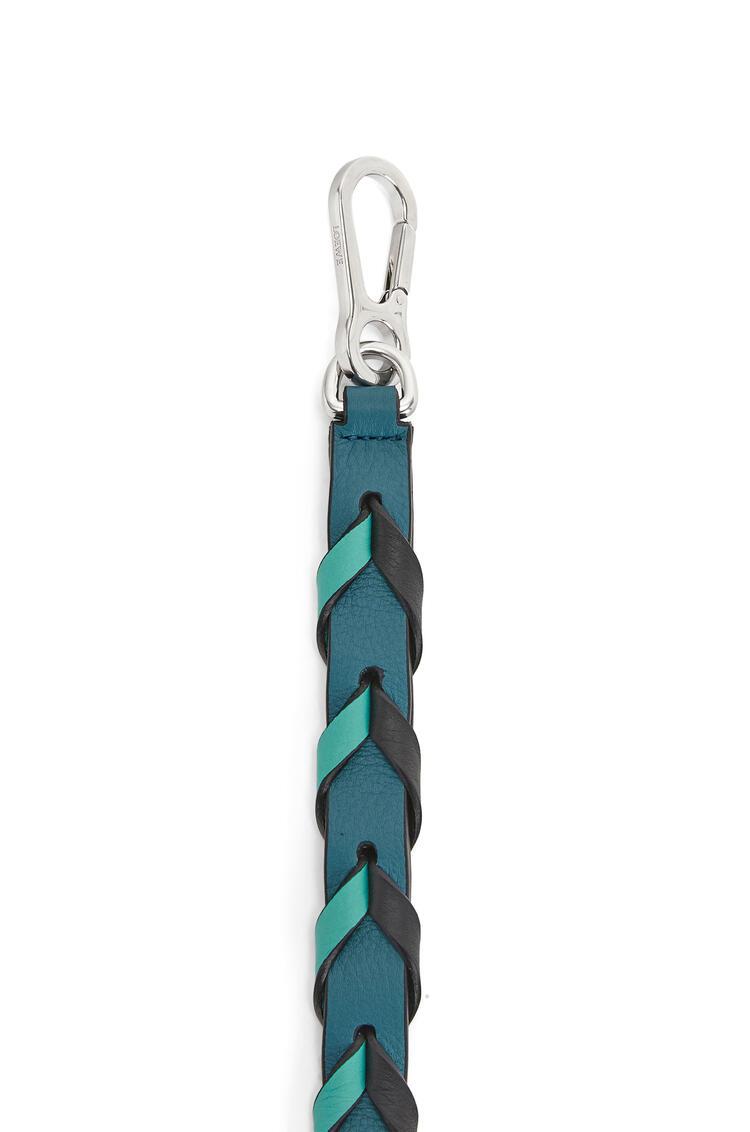 LOEWE Thin Braided strap in classic calfskin Dark Lagoon/Black pdp_rd