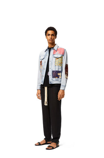 LOEWE Patched jacket in cotton Light Blue/Multicolor pdp_rd