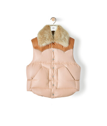 LOEWE Sleeveless Leather Jacket Light Pink front