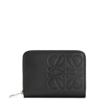 LOEWE Brand 6 Cards Zip Wallet 黑色 front