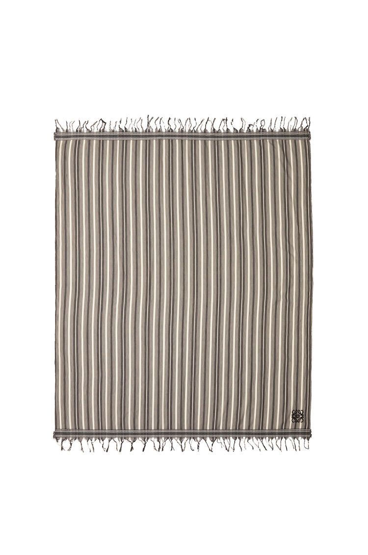 LOEWE 152cm X 210cm Anagram Scarf In Striped Cotton Black/White pdp_rd
