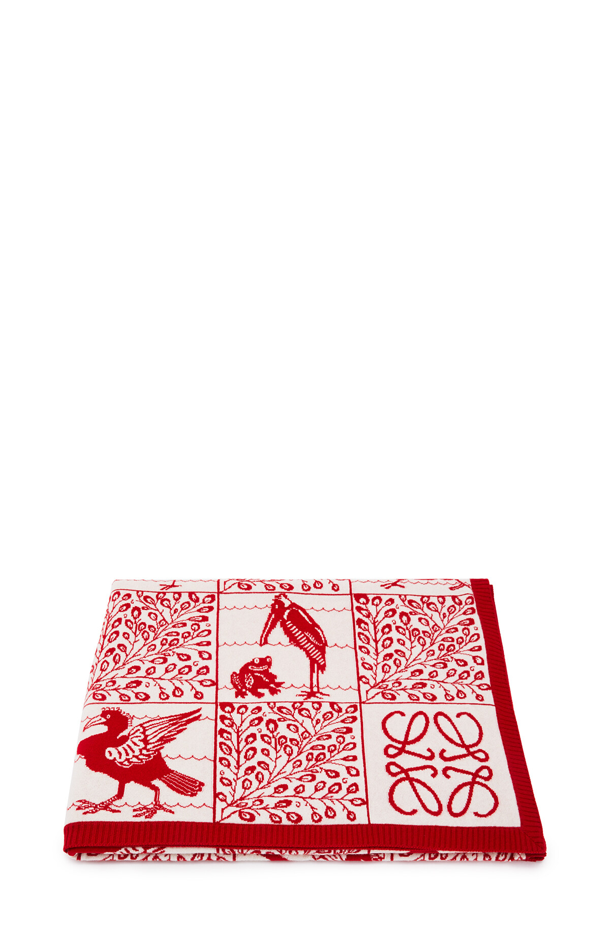 LOEWE 150X210 Knit Scarf Blanket Red front