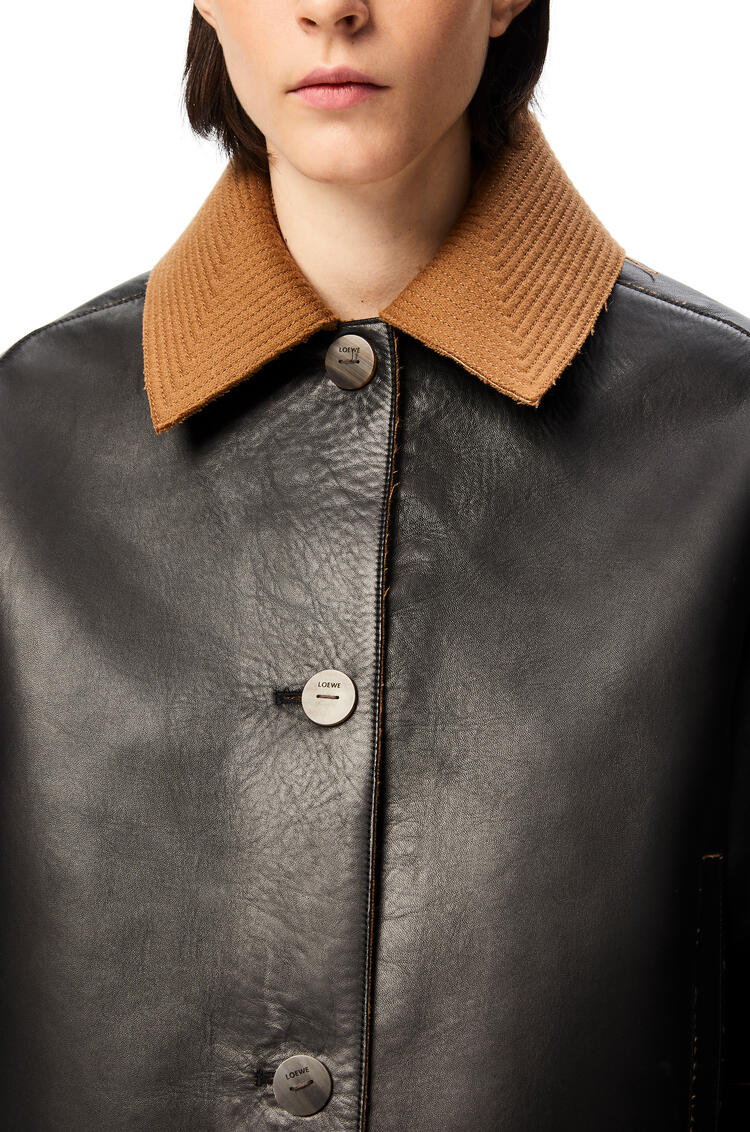 LOEWE Bonded cropped jacket in nappa and wool Black pdp_rd
