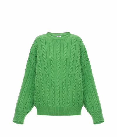 LOEWE Cable Knit Sweater Green front