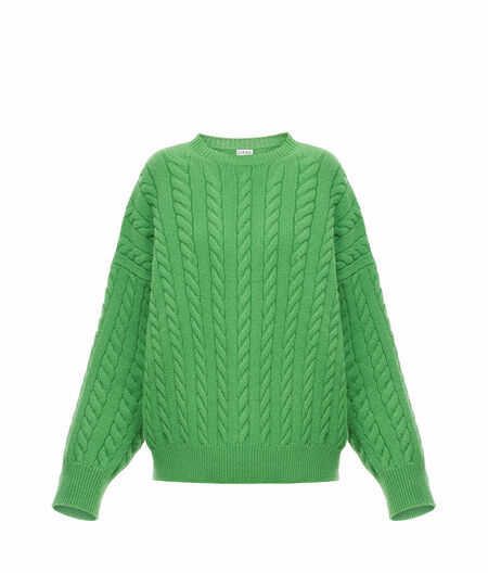 Cable Knit Sweater Green Loewe