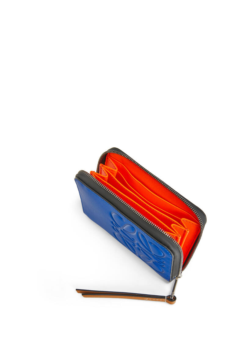 LOEWE 6 card zip wallet in soft calfskin Electric Blue/Orange pdp_rd