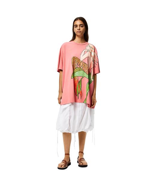 LOEWE Oversize T-Shirt In Mermaid Cotton Rose front