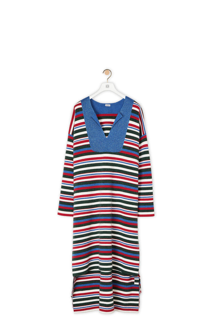LOEWE Knit tunic in striped wool Navy Blue/Rust Red pdp_rd
