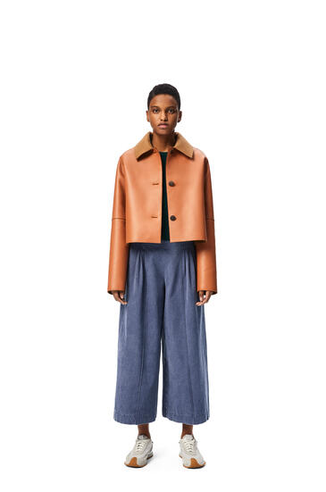LOEWE Bonded cropped jacket in nappa and wool Tan pdp_rd