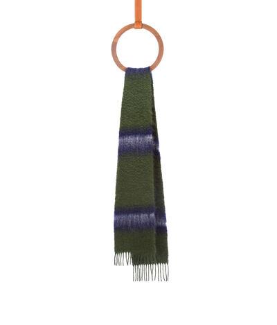 LOEWE 23X185 Scarf Varsity Stripes Verde/Blanco front