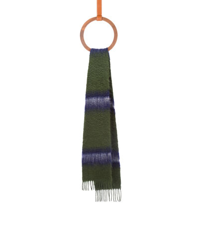 LOEWE 23X185 Scarf Varsity Stripes Green/White front