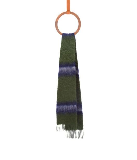 LOEWE 23X185 Scarf Varsity Stripes Green/White all
