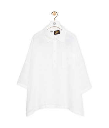 LOEWE Polo Collar Top In Linen White front