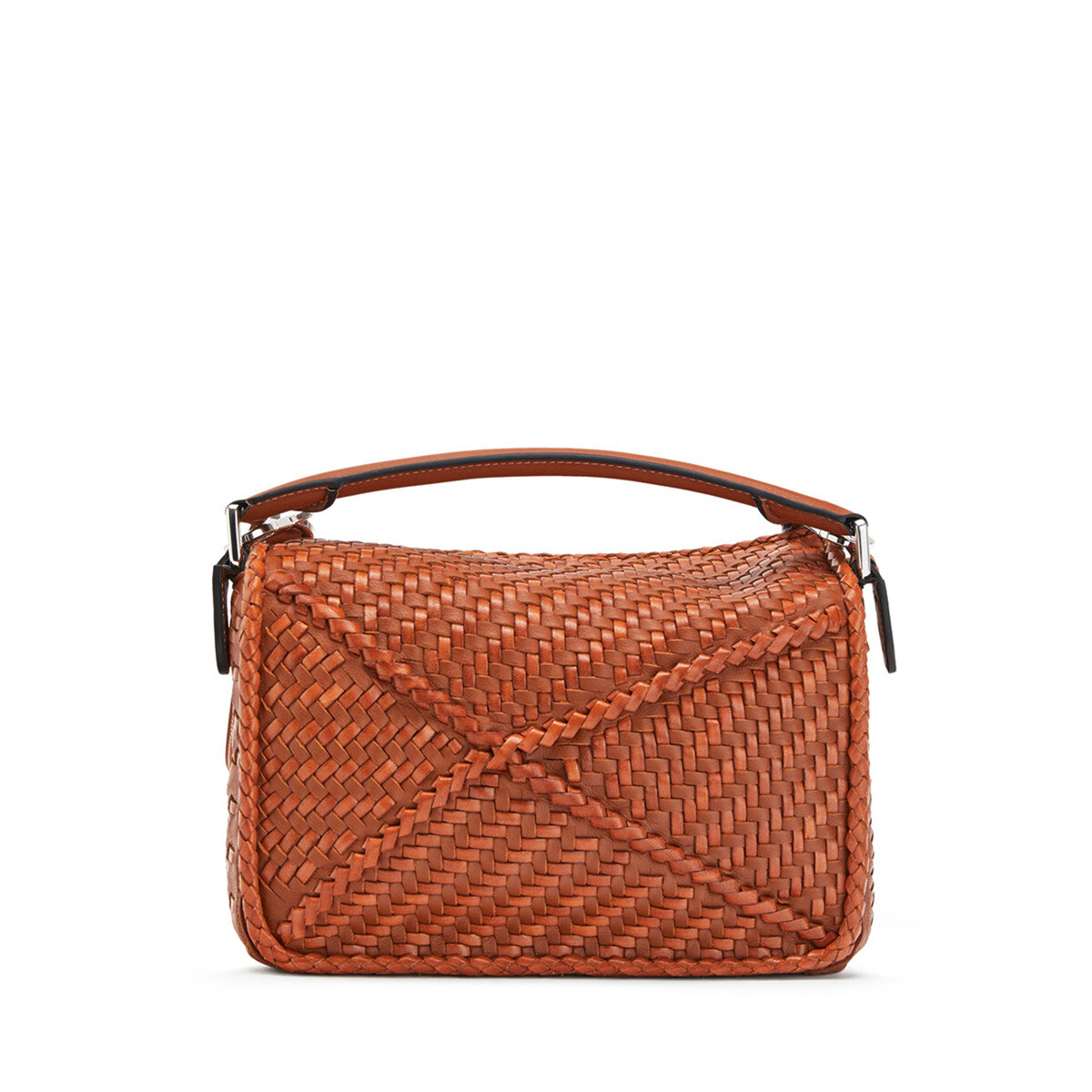 LOEWE Puzzle Woven Small Bag 棕褐 front