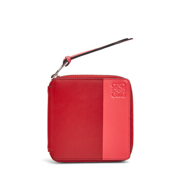 LOEWE Color Block Square Zip Wallet Pomodoro/Poppy Pink front