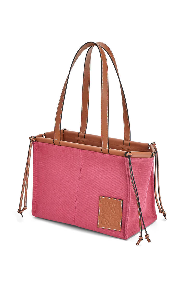 LOEWE Small Cushion Tote bag in canvas and calfskin Raspberry pdp_rd