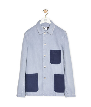 LOEWE Contrast Patch Workwear Jacket In Cotton Indigo/Light Blue front