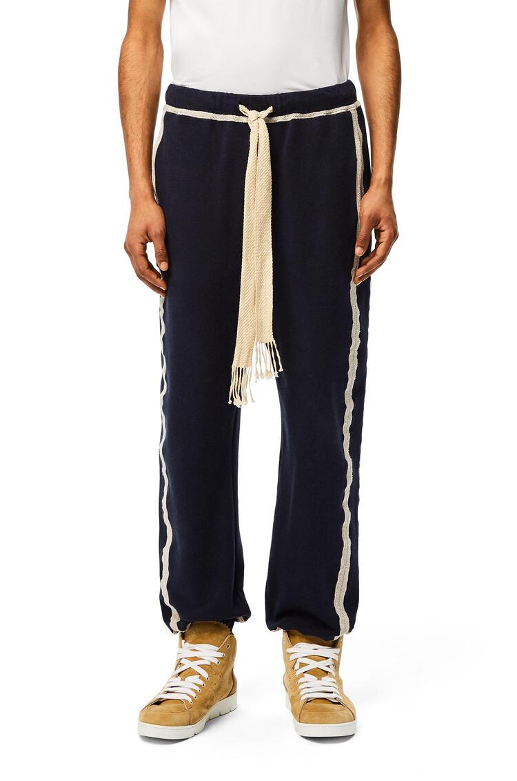 LOEWE Pantalón de chándal en algodón con anagrama bordado Azul Marino/Crudo pdp_rd