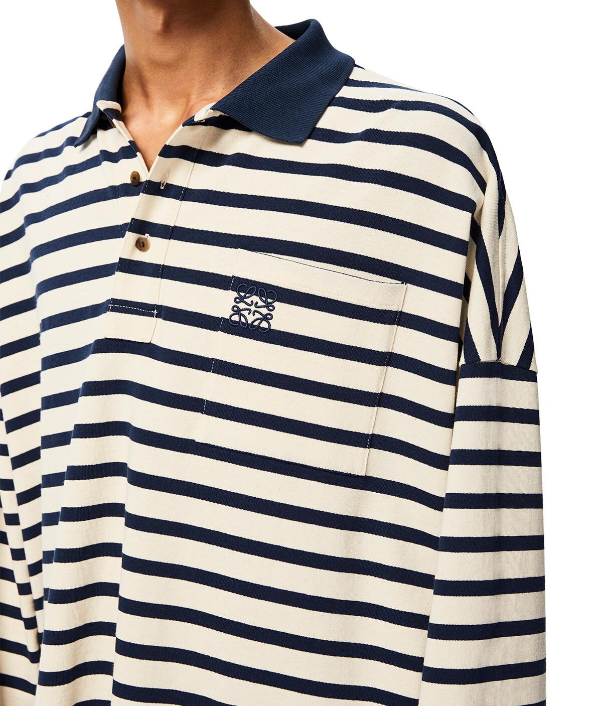 LOEWE Oversize Stripe Polo Navy Blue/Ecru front