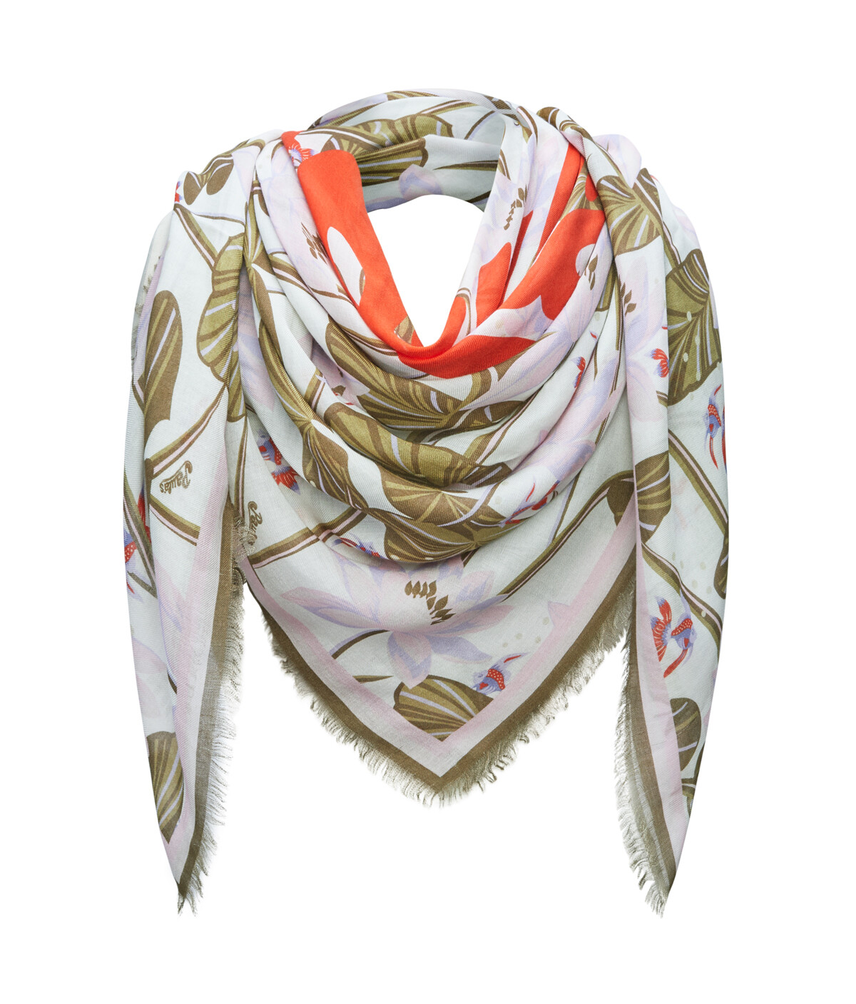 LOEWE 140 Cm X 140 Cm Scarf In Waterlily Cashmere White/Purple front