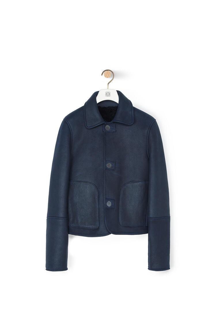 LOEWE Shearling Button Jacket In Novack Navy Blue/Navy Blue pdp_rd