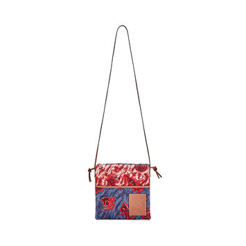 LOEWE Paula's Small Drawstring Pouch Blue/Red front