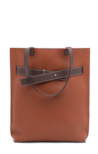 LOEWE Strap Vertical Tote Bag Cognac/Chocolate Brown front