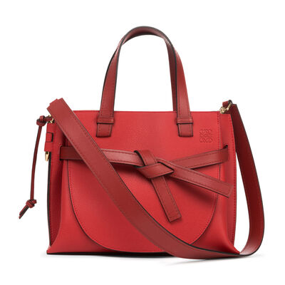 LOEWE Gate Top Handle Small Bag Scarlet Red/Burnt Red front
