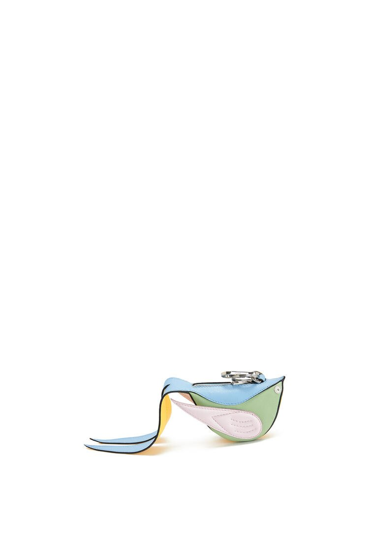 LOEWE Bird charm in calfskin Icy Pink/Yellow pdp_rd