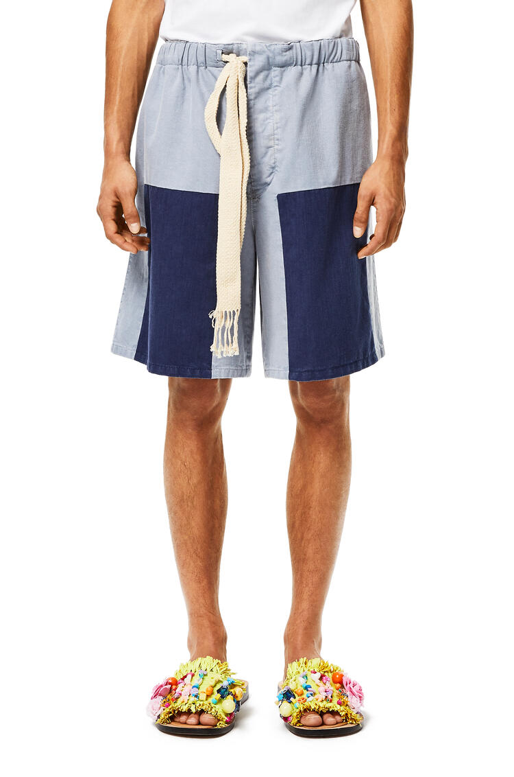 LOEWE Patch shorts in cotton Indigo/Light Blue pdp_rd