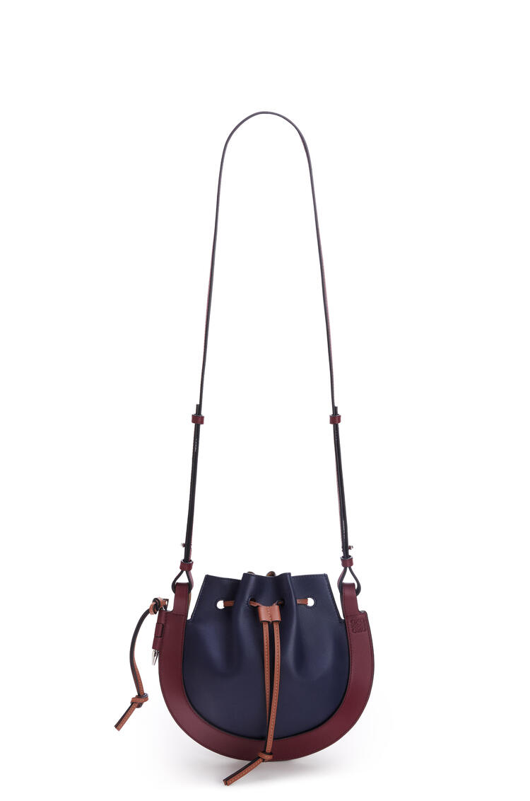 LOEWE 小号纳帕皮和牛皮革 Horseshoe 手袋 Midnight Blue/Wine pdp_rd