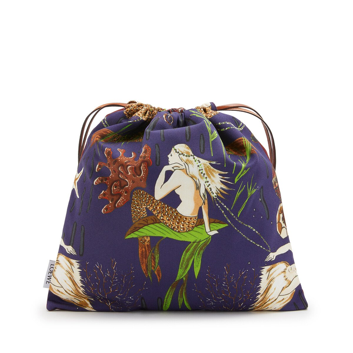 LOEWE Small Drawstring Pouch In Mermaid Canvas Burgundy/Marine front