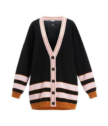 LOEWE Stripe Cardigan Black/Pink front