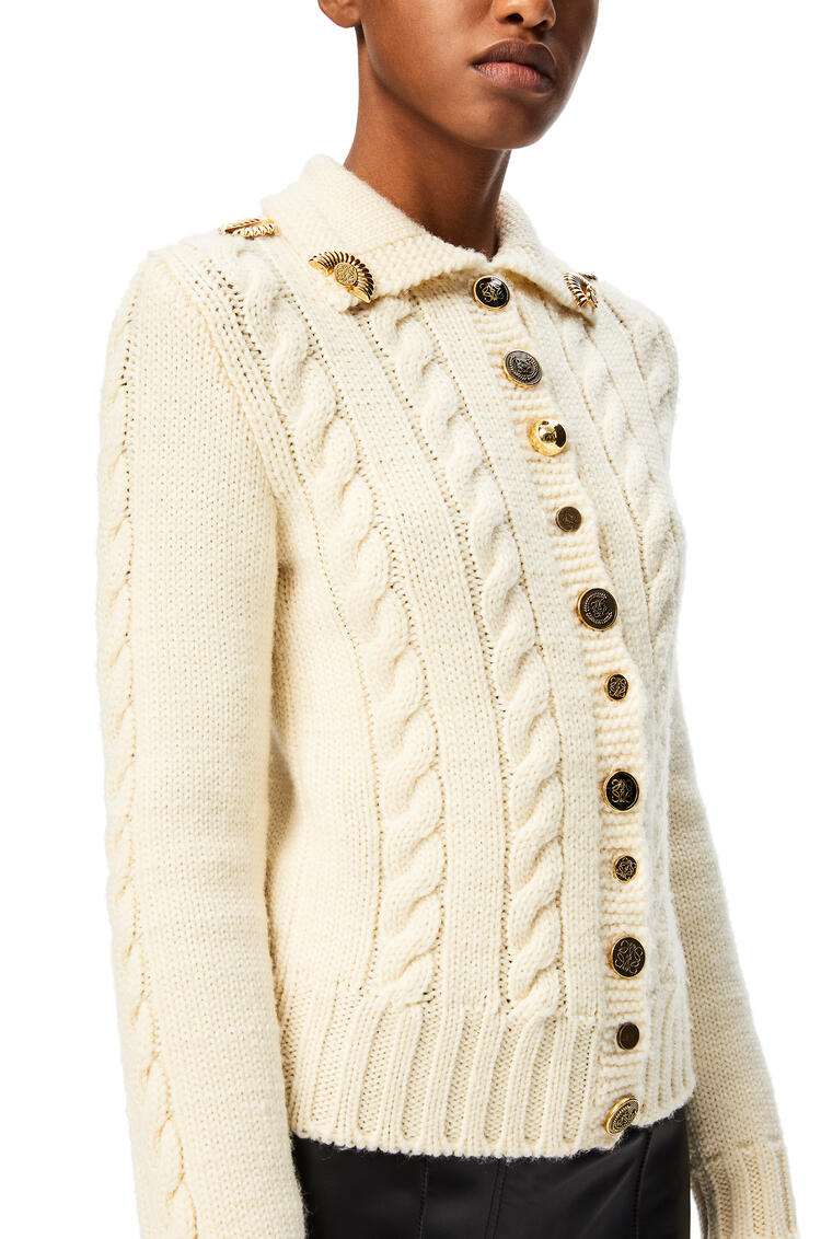 LOEWE Gold button cardigan in wool Off-white pdp_rd