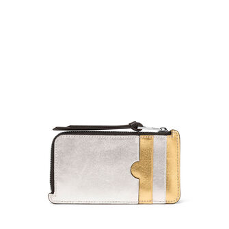 LOEWE Rainbow Coin/Card Holder Gold/Silver front