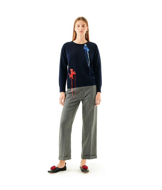 LOEWE Sweater Crochet Animals Navy Blue front