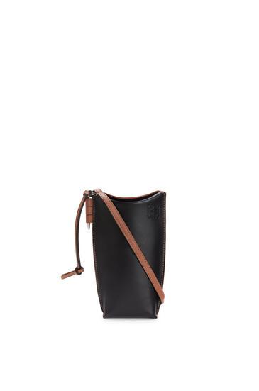 LOEWE 柔软牛皮革 Gate Pocket 手袋 黑色/棕褐色 pdp_rd